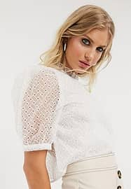 Only Blouse col montant avec manches bouffantes et broderies blanchd
