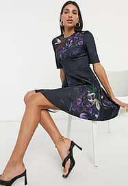 Ted Baker Alephie - Robe patineuse courte à motif floral grenade - Marine