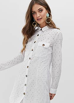 Robe chemise en broderie anglaise - Blanc - Blanc