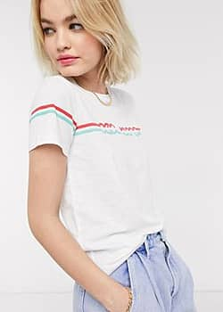 Pepe Jeans Pepe - Lola - T-shirt style années 70 - Blanc