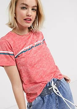 Pepe Jeans Pepe - Lola - T-shirt style années 70 - Rouge