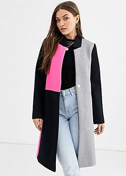 River Island Manteau sans col à motif color block-Multi