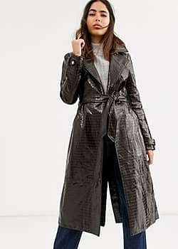 River Island Trench en vinyle - Chocolat-Marron