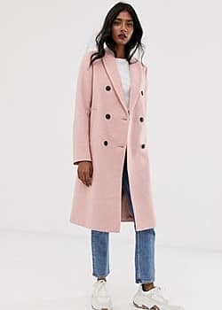 Stradivarius Manteau long croisé - Rose