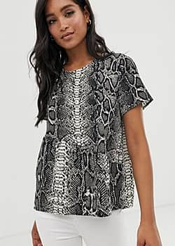 Vero Moda Top babydoll motif serpent-Multi