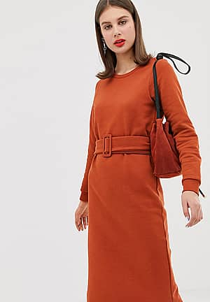 Robe sweat avec ceinture - Orange - Orange