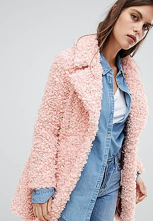 Manteau style peluche - Rose - Rose