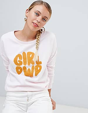 45b97ae17d Only Terry - Sweat-shirt à imprimé Girl Power - Rose