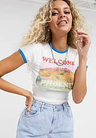 Arizona - T-shirt crop top à imprimé graphique - Blanc