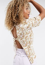 Noisy May Top manches courtes avec dos ouvert motif camouflage-Rose