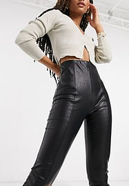 Stradivarius Leggings imitation cuir - Noir