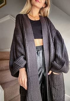 Noisy May Cardigan long avec manches larges - Gris anthracite