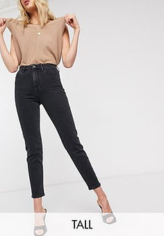 Stradivarius Tall - Jean mom slim stretch - Noir