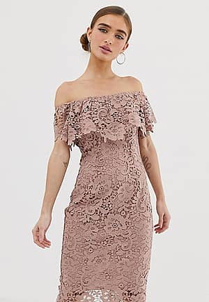 Robe fourreau style Bardot en dentelle - Taupe - Marron